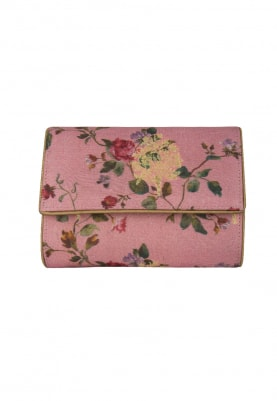 Pink with Multi-Color Printed All-Over Floral Design Envelope Clutch