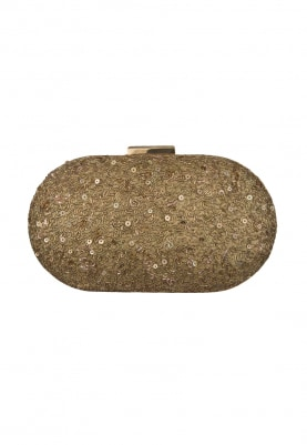 Golden Sequin Work with Golden Hand Embroidered Capsule Shape Clutch