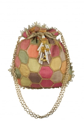 Multi-Color Hexagon Shaped Design Potli with Draw-String and Heavy Tassel