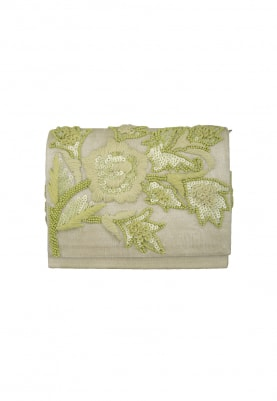 Lime Green with Green Thread and Sequin Work Floral Design Envelope Clutch