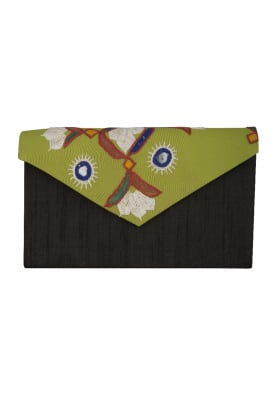 Black Embroidered with V Shape Green Flap Traditonal Envelope Clutch
