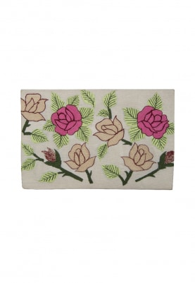 White Envelope Clutch with Floral Multicolor Thread-Work
