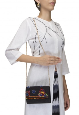 Black Muti-Color Traditional Embroidered Flap Envelope Clutch