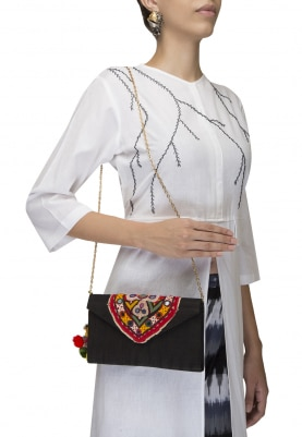 Black Traditional Embroidered V Shape Flap Traditonal Envelope Clutch