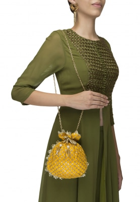 Yellow with Golden Sequin Hand Embroidered Potli Lace On Side
