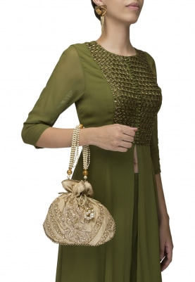 Golden Intricately Hand Embroidered Potli with Heavy Tassel Draw-String and Pearl Sling