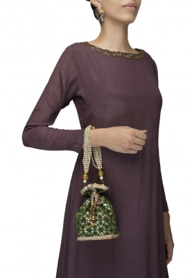 Green Golden Printed Potli with Detacable Pearl Sling Clain
