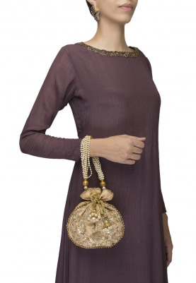 Gold Hand Embroidered Potli with Heavy Pearl Tasselled Drawstring