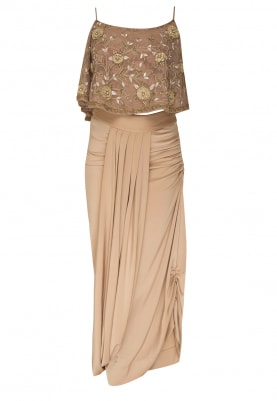 Beige Cape Fringe Detailing Top with Wrap Skirt