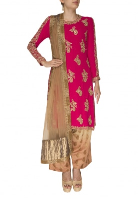 Hot Pink Embroidered Kurta with Brocade Pants  and Dupatta