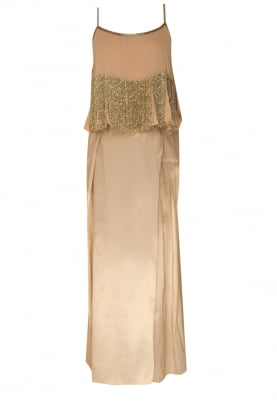 Beige Floral Embroidered Cape Flare Top with Asymmetric Draped Dhoti Skirt