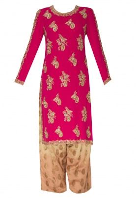 Hot Pink Embroidered Kurta with Brocade Pants  and Dupatta