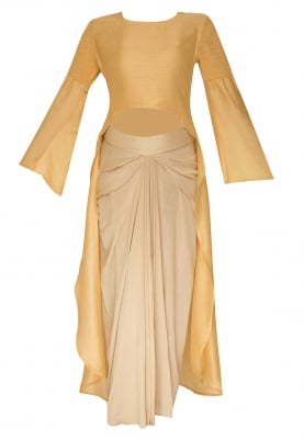 Mustard High Low Top Paired with Cream Dhoti Skirt