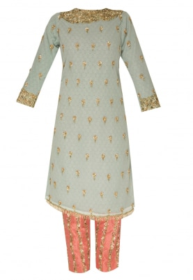 Powder Blue Straight Kurta with Pink Crop Pants  and Lace Border Dupatta