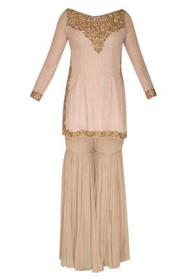 Pale Pink All-Over Embroidered Short Kurta with Gharara Pants  and Dupatta