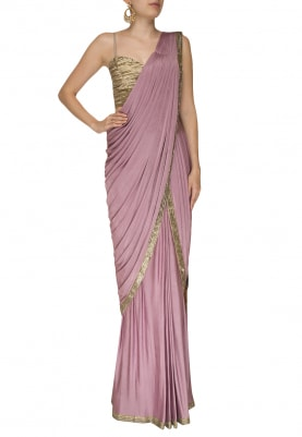 Lilac Kundan Embroidered Border Saree with Katdana Embroidered Blouse