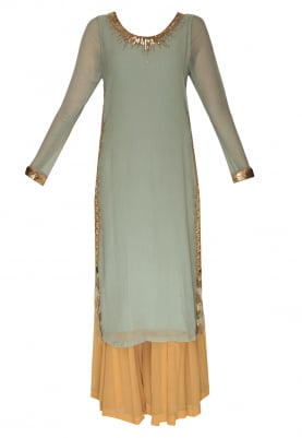 Dull Blue Straight Kurta with Mustard Plain Sharara Pants