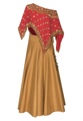 Red Poncho Embroidred Top with Mustard Panelled Plain Skirt