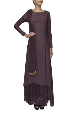Wine long kurta with attached embroidered transparent flare