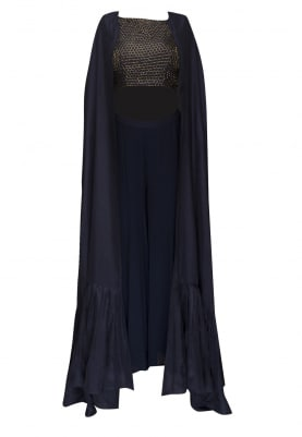 Blue cubical embroidered crop top and flared palazzo