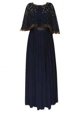 Blue gown with embroidered short cape