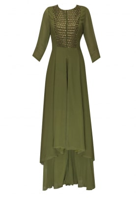 Green polti embellished panel high low kurta with flared palazzo