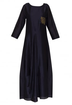 Blue cowled kurta with embroidery on front chest pocket