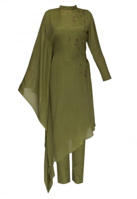 Green poncho style high low chinese collar kurta with slim ankle length pants