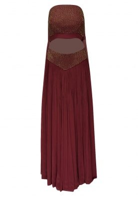 Maroon bardot embroidered bustier crop top and trail at back with bardot embellished waist palazzo