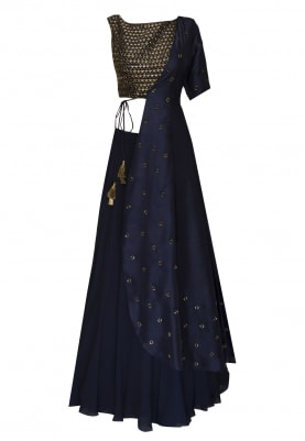 Blue embroidered crop top with cross-over jacket and umbrella skirt