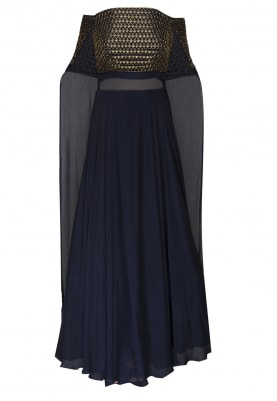 Blue bardot gown with cubical embellishment and trail