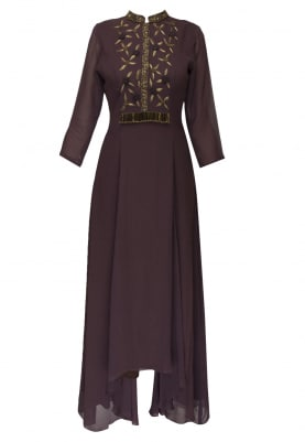 Wine high low panel kurta with embroidered yoke and legging