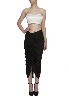Black Draw-String Gathered Fitted Tight Skirt