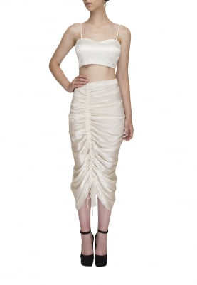 Broken White Draw-String Gathered Fitted Tight Skirt