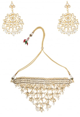 Gold Finish Pearl Jaal Studded Necklace Set