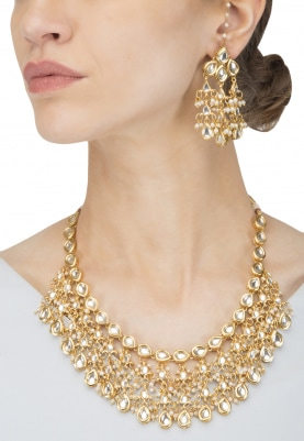 Gold Finish Kundan and  Pearls Studded Necklace Set
