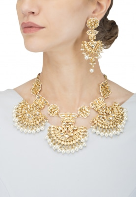Gold Finish Kundan and  Pearls Studded Crescent Necklace Set