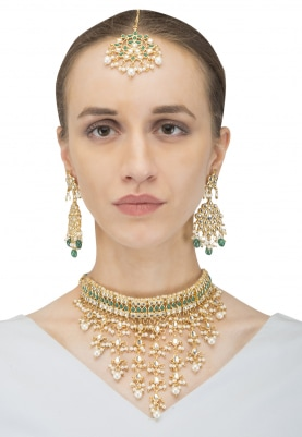 Gold Finish Pearl Jaal and  Green Stones Studded Necklace Set
