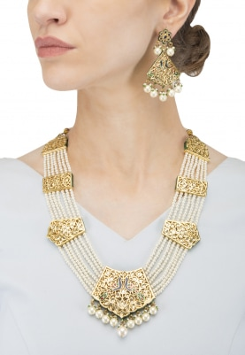Gold Finish Kundan and  Pearls Studded Raani Haar Neckalce Set