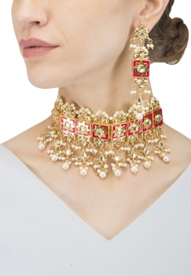 Gold Finish Kundan, Pearls and  Red Enamel Necklace Set