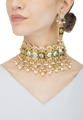 Gold Finish Kundan, Pearls and  Green Enamel Necklace Set
