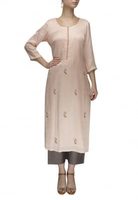 Peach Hand Embroidered Kurta with Contrasting Crop Palazzo