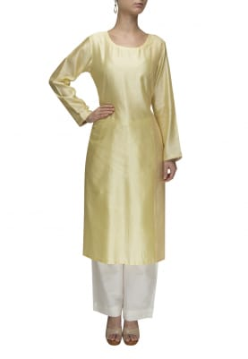 Lemon Yellow Kurta with Kantha Panel In Contrasting Thread Work