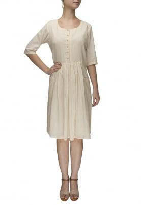 Ivory Gathered Kurta Dress