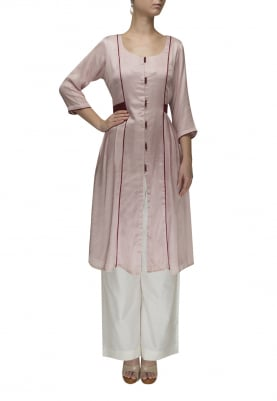 Dusky Pink Contrast Waist Patch Belt Gathered Dress with Palazzo