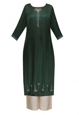 Dark Green Hand Embroidered Kurta with Contrasting Palazzo