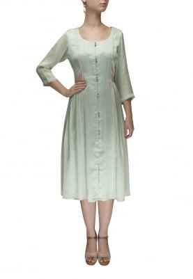 Pastel Green Contrast Waist Patch Belt Gathered Dress