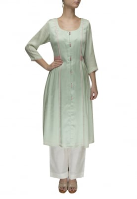 Pastel Green Contrast Waist Patch Belt Gathered Dress with Palazzo