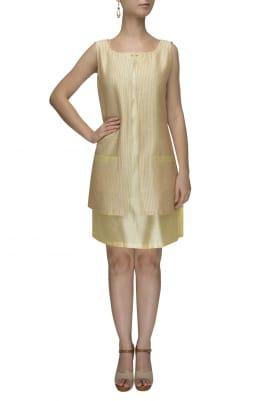 Lemon Yellow Double Layer Dress with Kantha Work Pocket
