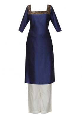 Navy Blue Hand Embroidered Kurta with Palazzo